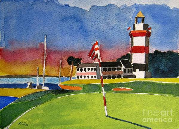 Golf Art Print featuring the painting Harbour Town 18th Sc by Lesley Giles