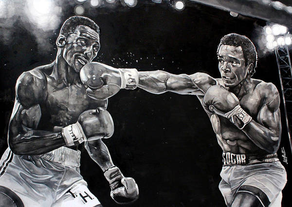 Boxing Print featuring the painting Hearns Vs. Leonard by Michael Pattison