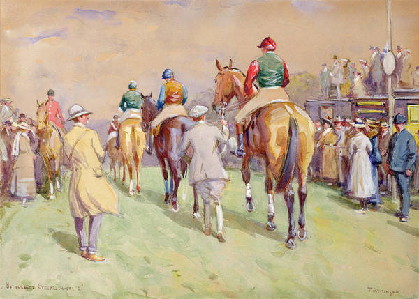 Heathersett Art Print featuring the painting Hethersett Steeplechases by John Atkinson