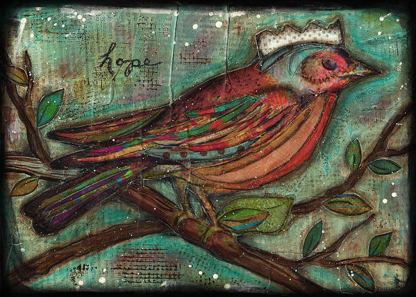 Bird Art Print featuring the mixed media Hope Will Fly by Shawn Petite