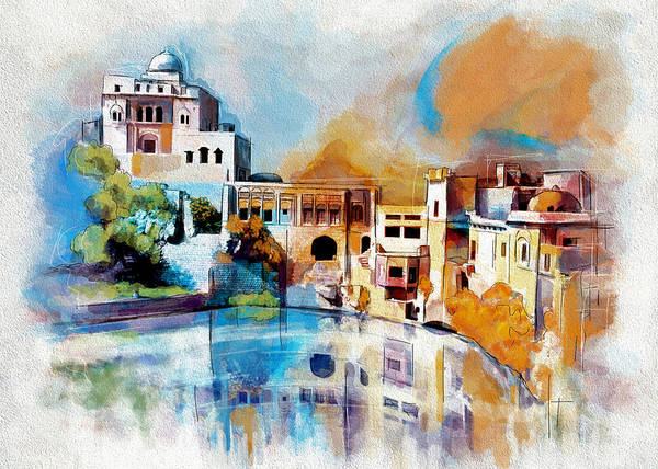 Pakistan Art Print featuring the painting Katas Raj Temple by Catf