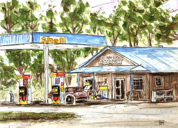 Leipers Fork Art Print featuring the painting Leipers Fork Market by Tim Ross