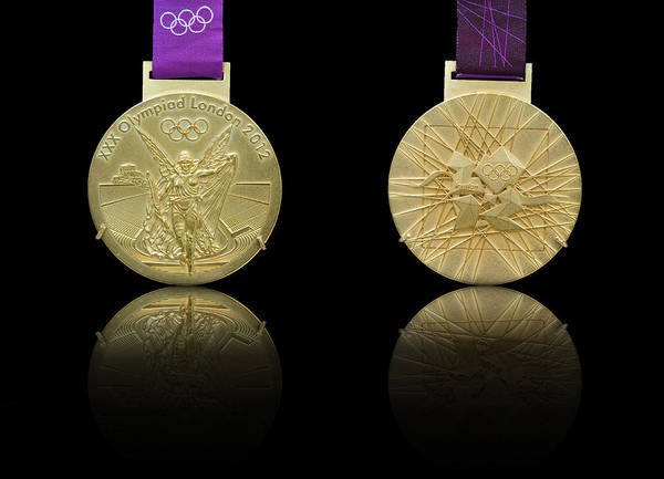 Olympic Art Print featuring the photograph London 2012 Olympics Gold Medal Design by Matthew Gibson