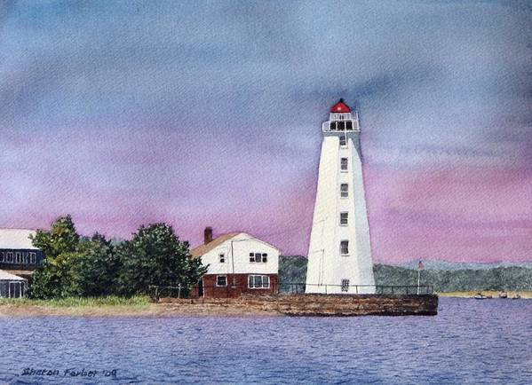 Lighthouse Art Print featuring the painting Lynde Point Lighthouse by Sharon Farber