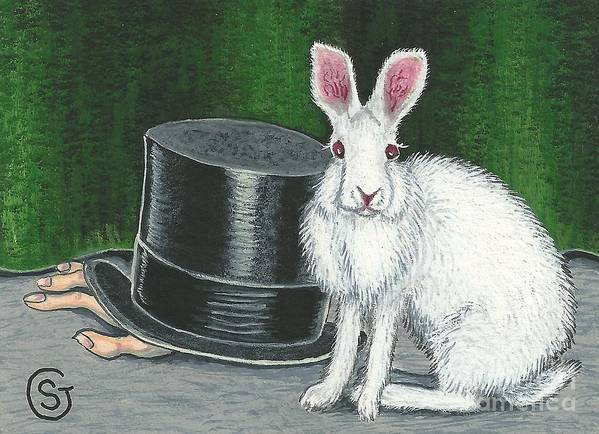 Rabbit Art Print featuring the painting Mad March Hare -- Now You See How It Feels by Sherry Goeben