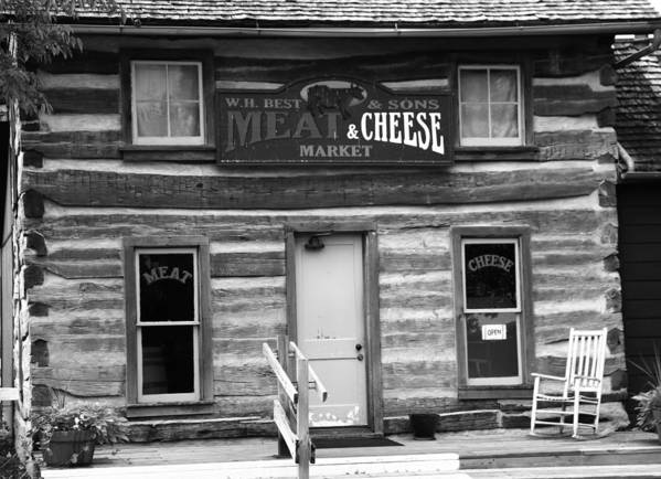 Meat And Cheese Market Black And White Art Print featuring the photograph Meat And Cheese Market Black And White by Dan Sproul