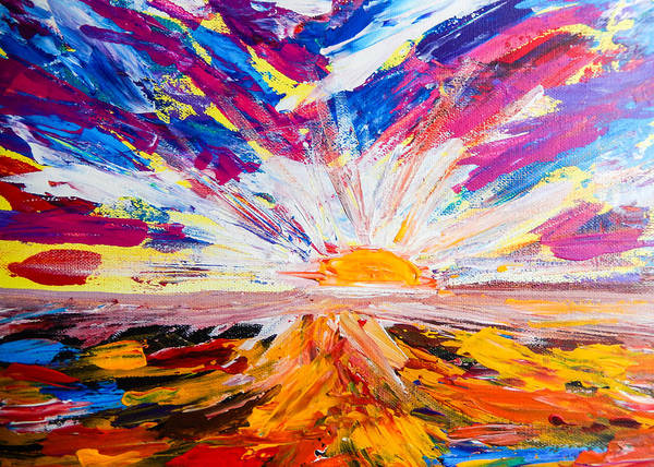 Landscape Art Print featuring the painting Meeting The Sun Abstract Landscape by Eliza Donovan