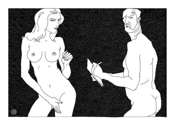 Art Art Print featuring the digital art Model And Artist 19 by Leonid Petrushin