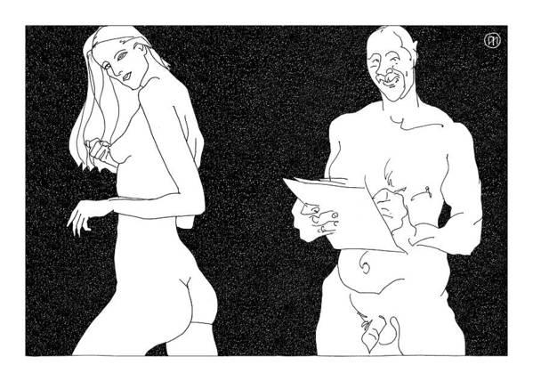 Art Art Print featuring the digital art Model And Artist 22 by Leonid Petrushin