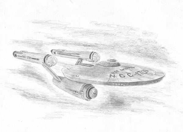 Space Art Print featuring the drawing Ncc-1701 Enterprise by Michael Penny