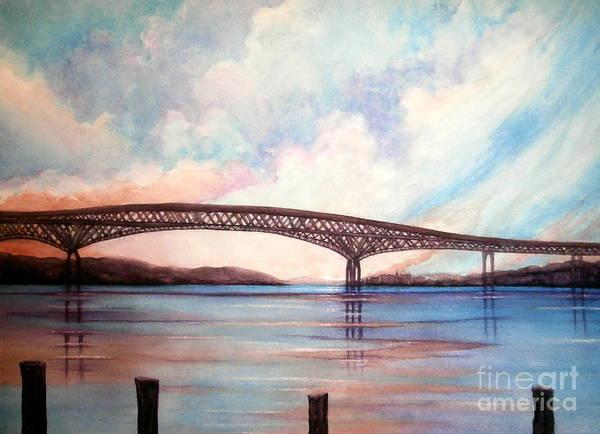 Newburgh - Beacon Bridge Art Print featuring the painting Newburgh Beacon Bridge Sky by Janine Riley