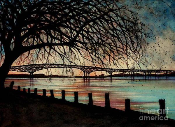 Newburgh Beacon Bridge Art Print featuring the painting Newburgh Beacon Bridge Sunset by Janine Riley