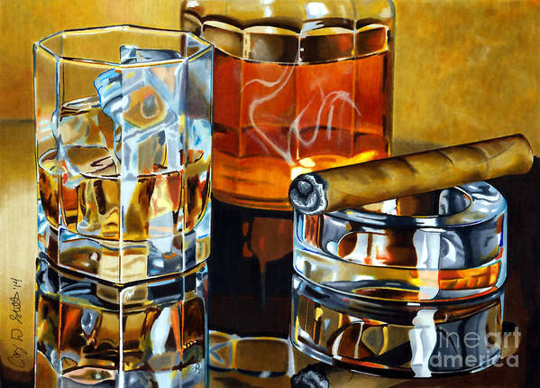 Whiskey Art Print featuring the drawing Nightcap 2 by Cory Still