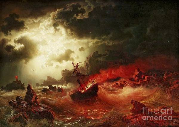 Pd Art Print featuring the painting Nocturnal Marine With Burning Ship by Pg Reproductions