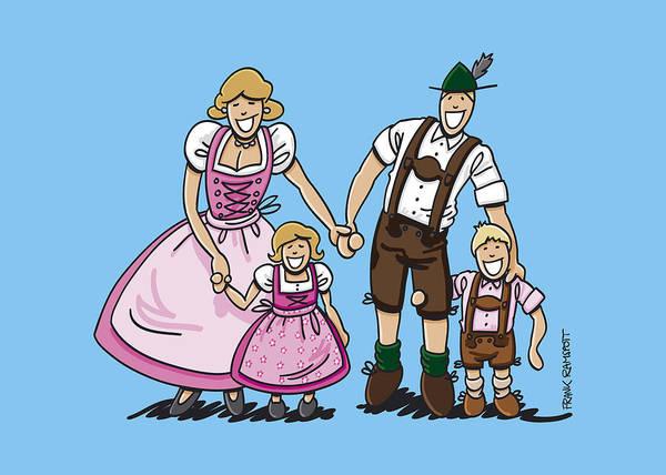 Frank Ramspott Print featuring the digital art Oktoberfest Family Dirndl And Lederhosen by Frank Ramspott