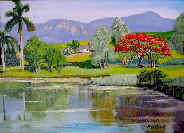 Oil Art Print featuring the painting Old Farm by Jose Manuel Abraham