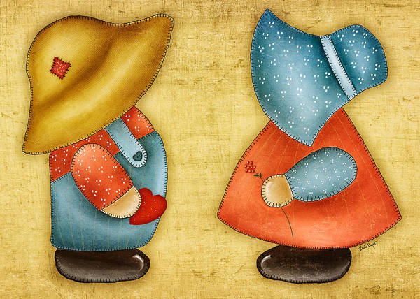 Sunbonnet Sue Art Print featuring the painting Overall Sam And Sunbonnet Sue by Brenda Bryant