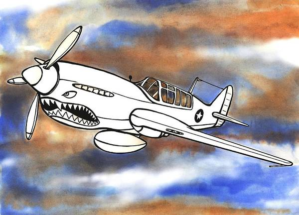 Warhawk Art Print featuring the mixed media P-40 Warhawk 1 by Scott Nelson