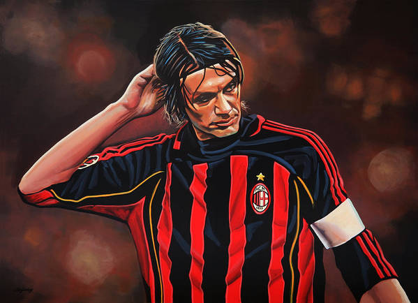 Paolo Maldini Art Print featuring the painting Paolo Maldini by Paul Meijering