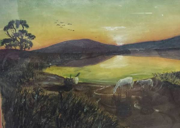 Landscape Art Print featuring the painting Ponies At Sunset by Brent Vall Peterson