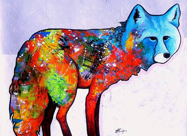Animal Art Print featuring the painting Rainbow Warrior - Fox by Joe Triano