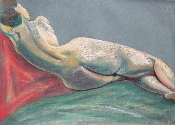 Chalk Pastel Painting Print featuring the painting Reclining Nude Back by Asha Carolyn Young