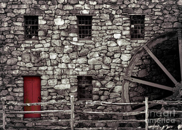 Gristmill Art Print featuring the photograph Red Door by Jayne Carney
