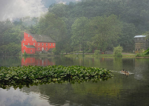 Red Mill Art Print featuring the photograph Red Mill Misty Morning by Pat Abbott