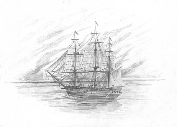 Naval Print featuring the drawing Sailing Ship Enterprise by Michael Penny