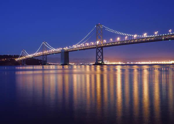 San Francisco Art Print featuring the photograph San Francisco Bay Bridge At Twilight by Denise Cottin