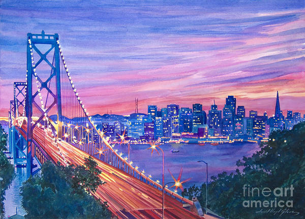 Bridges Art Print featuring the painting San Francisco Nights by David Lloyd Glover