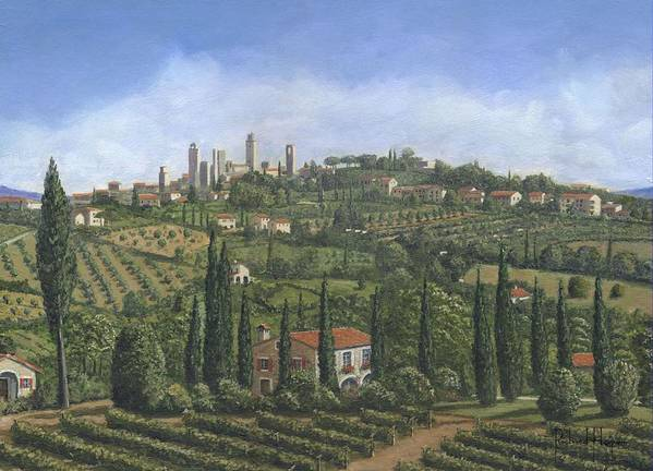 San Gimignano Print featuring the painting San Gimignano Tuscany by Richard Harpum