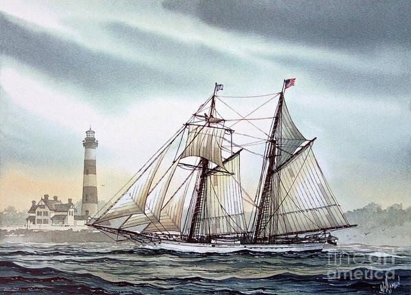 Schooner Art Print featuring the painting Schooner Light by James Williamson