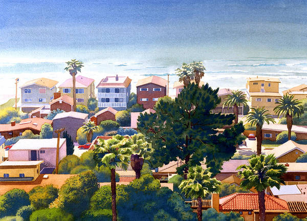 Seaview Art Print featuring the painting Sea View Del Mar by Mary Helmreich