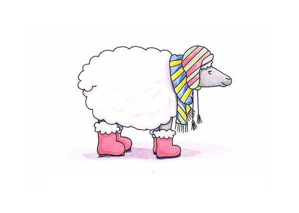 Sheep Art Print featuring the painting Sheep In A Scarf by Christy Beckwith