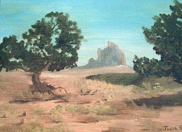 Mountain Art Print featuring the painting Ship Rock New Mexico by Judi Pence