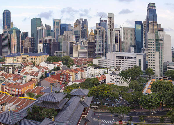 Singapore Art Print featuring the photograph Singapore Central Business District Over Chinatown Area by Jit Lim