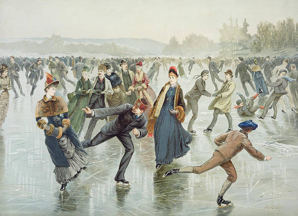 Frozen Pond Art Print featuring the painting Skating by Harry Sandham