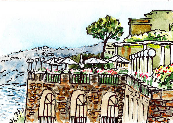 Italy Art Print featuring the painting Sketching Italy Sorrento Cliff by Irina Sztukowski