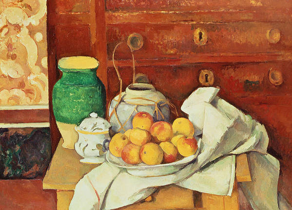 Post-impressionist Art Print featuring the painting Still Life With A Chest Of Drawers by Paul Cezanne