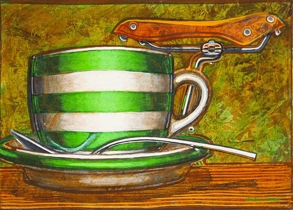 Stripes Art Print featuring the painting Still Life With Green Stripes And Saddle by Mark Jones