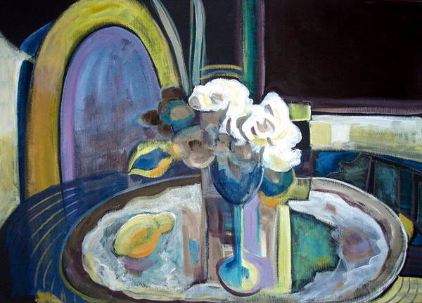 Still Life With White Roses Art Print featuring the painting Still Life With Lemon And Two White Roses by Therese AbouNader