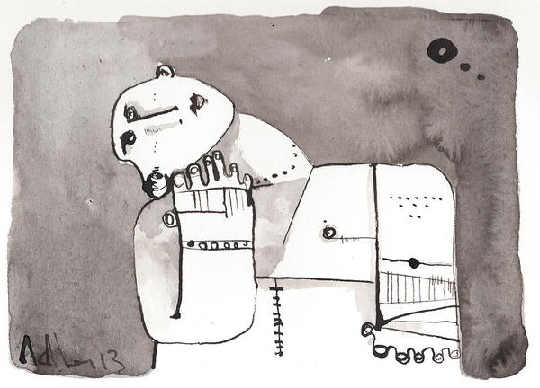Ink Art Print featuring the drawing Sub Lunam No. 4 by Mark M Mellon