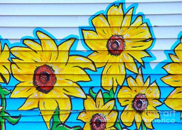 Street Art Art Print featuring the mixed media Sunflower Street Art Saint Johns Nfld by Art MacKay