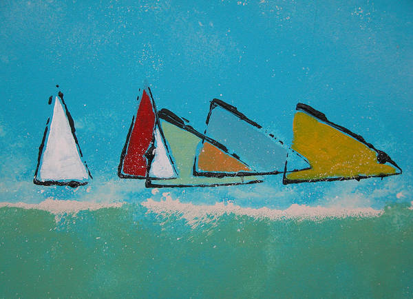 Sail Art Print featuring the painting Tack by Rhodes Rumsey