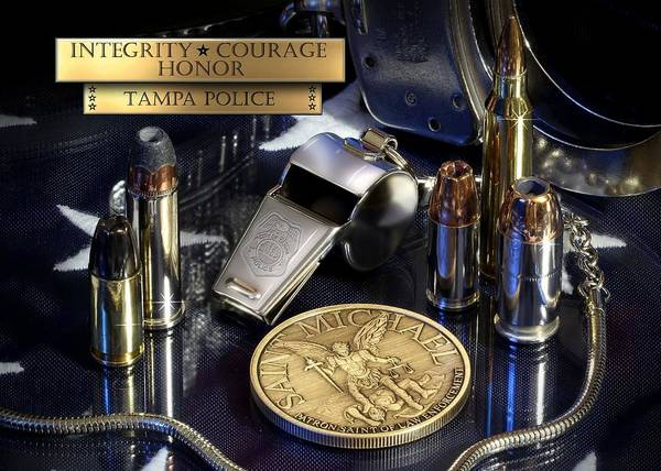 Law Enforcement Art Print featuring the photograph Tampa Police St Michael by Gary Yost