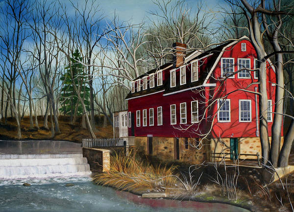 Mill Art Print featuring the painting The Cranford Mill by Daniel Carvalho