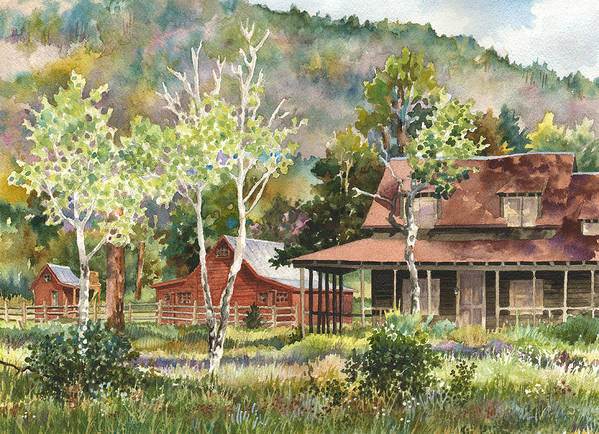 Barn Painting Art Print featuring the painting The Delonde Homestead At Caribou Ranch by Anne Gifford
