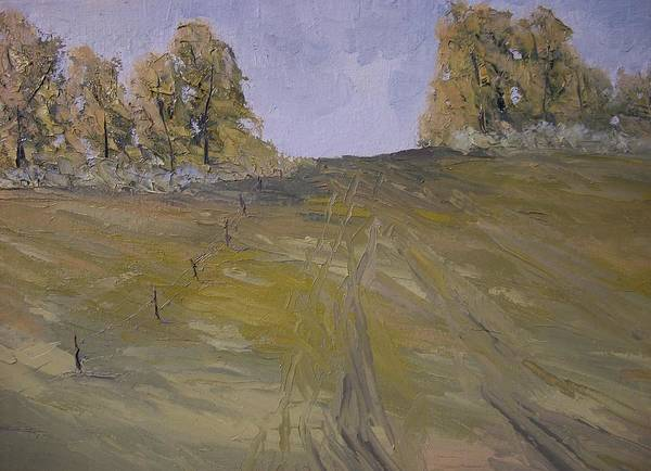 Oil Print featuring the painting The Fence Row by Dwayne Gresham