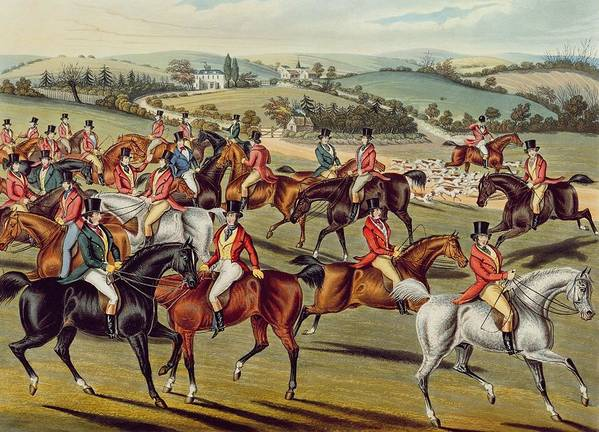Fox Hunt Print featuring the painting 'the Meet' Plate I From 'fox Hunting' by Charles Senior Hunt